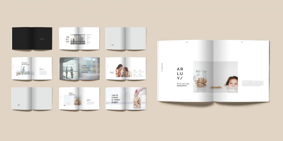 arluy-empresa-galletas-vistas-maquetacion-catalogo-revista-rebranding-papeleria-branding